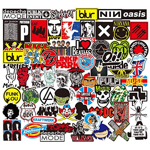 Sanmatic Rock and Roll Aufkleber 100 Stücke, Aufkleber Bombe Pack für Gitarre Trommel Kopfhörer Laptop Musik Aufkleber (Rock and Roll Aufkleber)