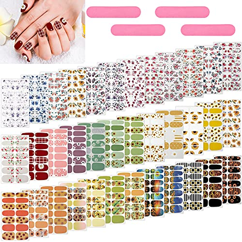 504 Pieces 36 Sheets Full Nail Polish Wraps Nail Self-Adhesive Stickers Nail Full Cover Nail Art Decal Nail Manicure Kit with 4 Pieces Nail Files for Women Girls, Nail Decoration (Flowers)