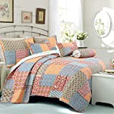 Cozy Line Home Fashions Reversible Quilt Bedding Set, Bedspread, Coverlet, 1 Quilt and 2 Pillow Shams (Antique Chic, Queen - 3 Piece)