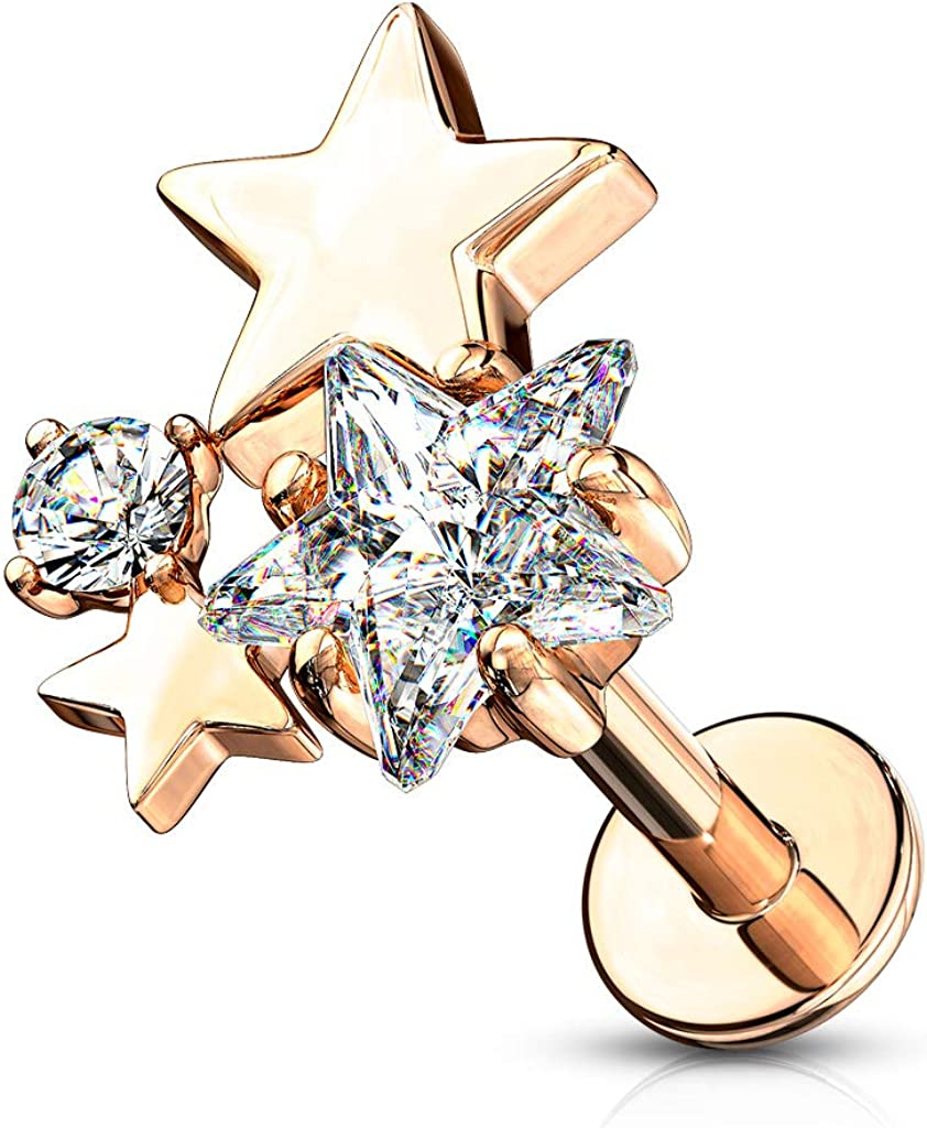 Pierced Owl CZ Crystal Star Cluster Top Labret Monroe Cartilage Ear Stud