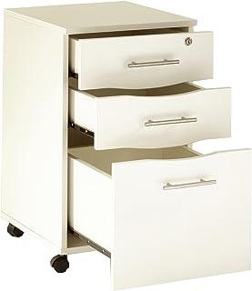 Mmt Furniture Designs Ltd Meuble Mobile à 3 tiroirs verrouillables sous Le Bureau Blanc