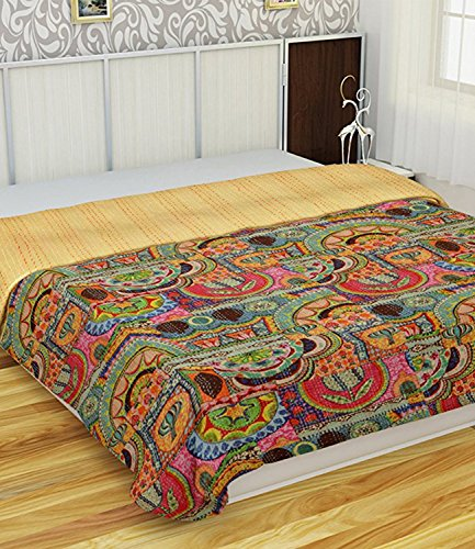 V Vedant Designs Indian Patch Work Cotton Kantha Quilt Queen Bedspreads Throw Blanket (Queen Multi Floral)