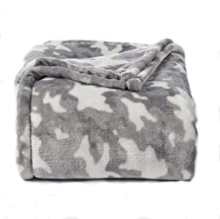 The Big One Oversized Plush Throw - Super Soft Microplush Blanket (Gray Camo)