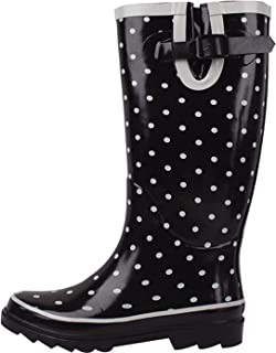 Women's Rain Boots Adjustable Buckle Mid Calf Festival Wellies Rubber Knee High Snow Shoes Multiple Styles (8 B(M) US, Black Polka Dots)