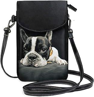 ZZKKO Mini-Umhängetasche, Motiv: Französische Bulldogge, Umhängetasche, Handy, Geldbörse, Tasche, Handtasche, Leder, für D...
