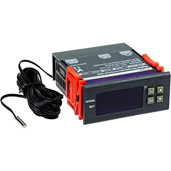 bayite DC 12V Fahrenheit Digital Temperature Controller 10A 1 Relay with Sensor