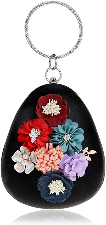 CIFFOST Pearl Evening Bag for Women,Clutches Evening Bags Ring Handbags Wedding Clutch Metal Chain Purse
