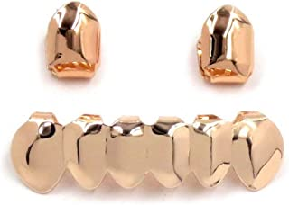 Gold Grillz Mouth Teeth 24K Plated Gold Custom Fit Top & Bottom Set Caps Grillz for Women Gift + Extra Molding Bars + Microfiber Cloth