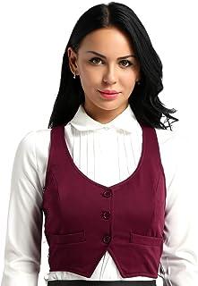 MSemis Women's Fashion Sleeveless V-Neck Dressy Suit Waistcoat Racer Back Classic Fitted Vest Shirts