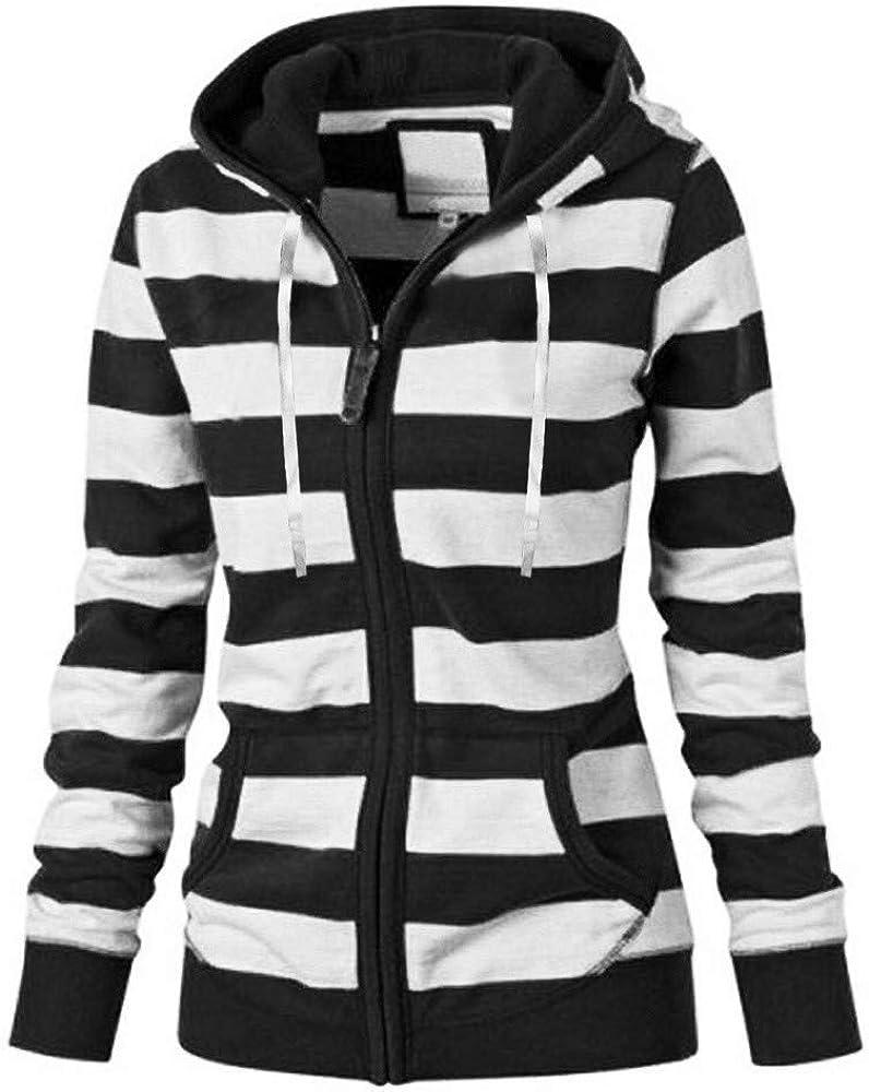 Casual Hoodies Zipper Jecket for Women Spring Autumn Ladies Stripe Patchwork Stylish Comfort Warm Sweatshirt