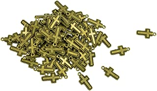 HOMYL Tiny Cross Pendant Bronze Christian Dot Cross Charms - 20mm - 50 Pieces Metal Antique Bronze Colors, Religious Penda...