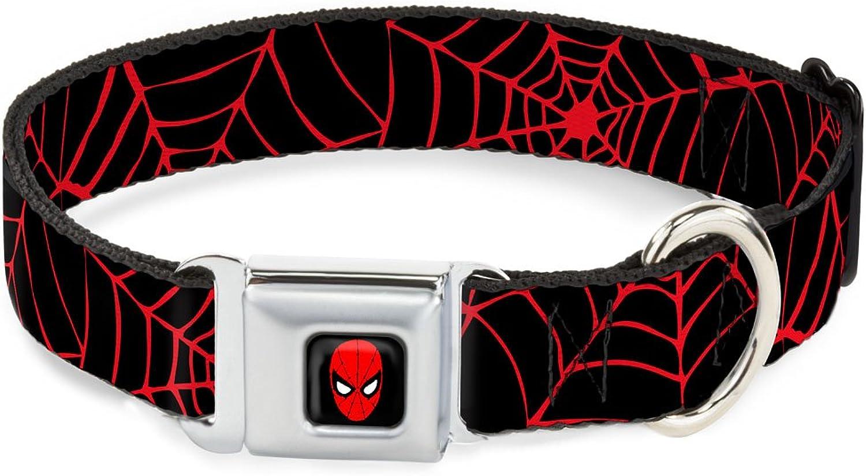BuckleDown DCWSPD003WS Dog Collar Seatbelt Buckle, Spiderweb Black Red, 1.5  by 1318