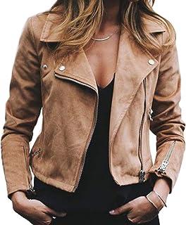 017c11e8bd Blouson de Motard Femme Slim Fit Col À Revers Veste Court de Faux Cuir Mode  Couleur