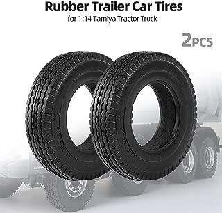 Leslaur 2pcs Trailer Car Rubber Tires for 1:14 Tamiya Tractor Truck RC Climbing Trailer