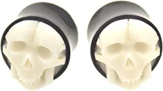 Pair of Hand Carved Protruding White Skull Face Ear Plugs Organic Style Gauges - 5/8 Inch (16mm)