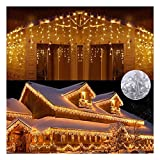 Zueyen - Catena luminosa a 144 LED, con 144 luci a forma di piogge di ghiaccio, per interni ed esterni, alimentazione elettrica con spina per Natale, balcone, giardino, festa, matrimonio, bianco caldo
