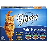 9 Lives Favorites Pate Favorites - Canned Cat Food (Pate Favorites, 2 Pack of 12)