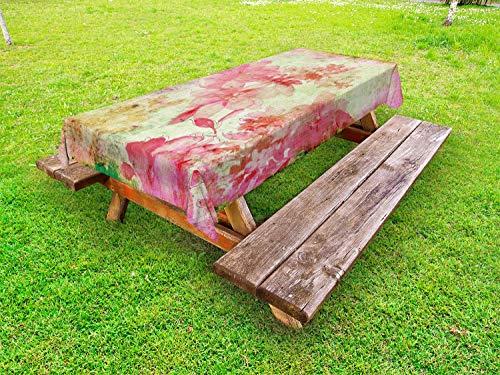 ABAKUHAUS Bloem Tafelkleed voor Buitengebruik, Retro Design oude grunge, Decoratief Wasbaar Tafelkleed voor Picknicktafel, 58 x 104 cm, Roze en Groen