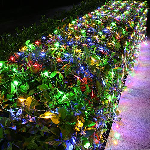 Joomer 12ft x 5ft 360 LED Connectable Christmas Net Lights, 8 Modes Bush Lights Mesh Netting Lights for Christmas Trees, Bushes, Wedding, Garden, Outdoor Decorations (Clear Wire, Multicolor)