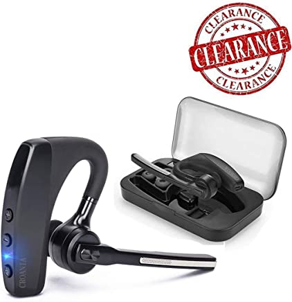 Bluetooth Headset, Wireless Bluetooth Earpiece Headphones Earbuds Ear Hooks Earphones with Noise Cancelling Mic and Carrying Case for Business/Office/Driving/Truck  Support iPhone/ Android Cellphones