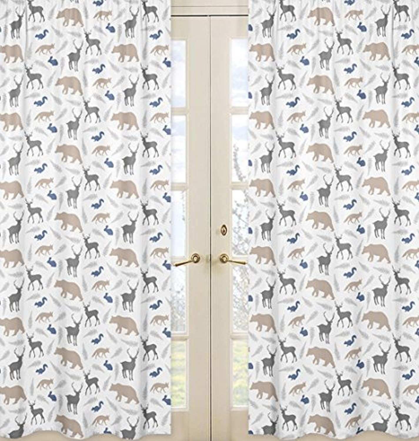 Sweet Jojo Designs 2-Piece Bear Deer Fox Window Treatment Panels for bluee Grey and White Woodland Animals Collection