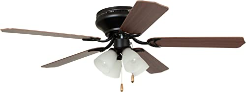 Craftmade Lighting BRC52ORB5C Brilliante - 52 Inch Ceiling Fan with Light Kit, Oil Rubbed Bronze Finish with Cherry/Mahogany Blade Finish with Frosted Ribbed Glass