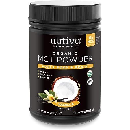 Nutiva Organic MCT Powder with Prebiotic Acacia Fiber, Vanilla, 10.6 Ounce   USDA Organic, Non-GMO, Non-BPA   Vegan, Gluten-Free, Keto & Paleo   Instant Beverage or Boost to Coffee & Smoothies