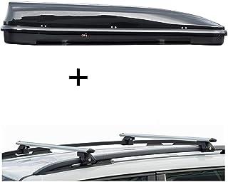 Dachbox VDPFL460 460Ltr schwarz glänzend + Dachträger CRV135 kompatibel mit Seat Alhambra III (5 Türer) ab 2010