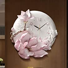 Chenteshangmao Modern Pink Flower Decorative Living Room Clock, Epoxy Ceramic Shell, Glass Mirror, Resin Dial. Propaganda ...