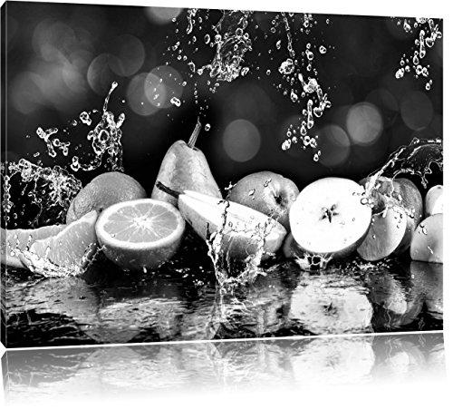 Vruchten in water Art B & WFoto Canvas | Maat: 120x80 cm | Wanddecoraties | Kunstdruk | Volledig gemonteerd