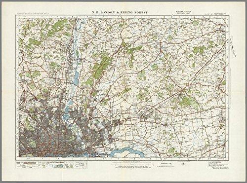 """North East London & Epping Forest – Karte von England und Wales der """"Ordnance Survey"""" 1920er-Serie, 73 x 100 cm"""