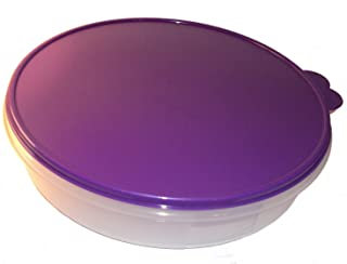 Tupperware 12 Inch Round Pie Carrier Taker with Purple Seal