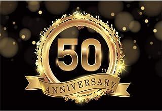 Laeacco Fotohintergrund zum 50. Jahrestag, goldenes Emblem, Bokeh Haloes, schwarzer Hintergrund, Hochzeitstag, Geschäft, Feier, Party, Banner, Foto Requisiten, Poster, 3 x 2,4 m