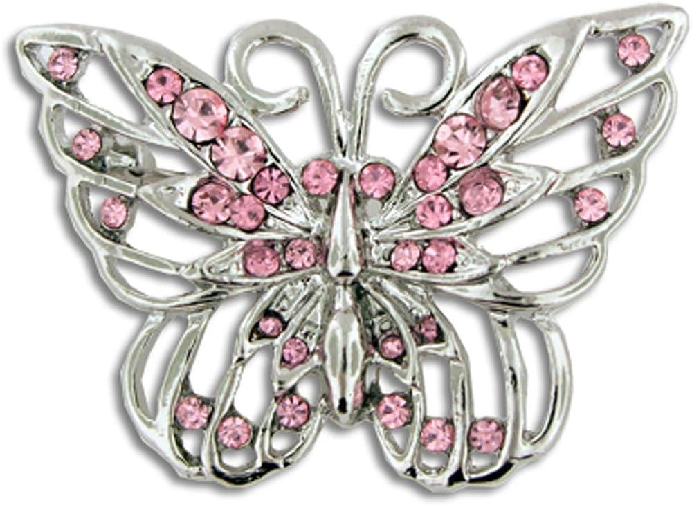 PinMart security Pink Superlatite Rhinestone Crystal Breast Cancer Butterfly Awarenes