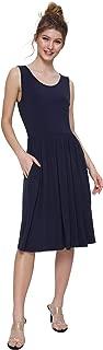 Women's Sleeveless Casual Swing Dress with Pockets