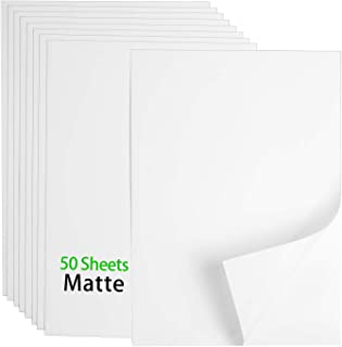 Premium Printable Vinyl Sticker Paper - 50 Matte White Waterproof Decal Paper Sheets for Inkjet Printer Standard Letter Si...