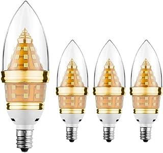 E12 LED Light BULB,EKSAVE 12W E12 LED Candelabra Bulb, Equivalent to 80-100 Watt Light Bulbs,1200 Lumens LED Candle Bulbs, Warm White,Torpedo Shape,Non-dimmable,gold (3000K,4pcs)