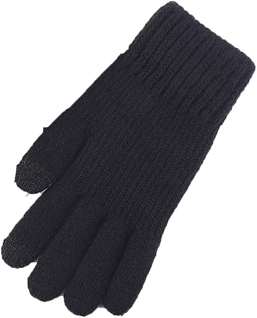 Touch Screen Knitted Gloves Men Women Thicken Wool Mitten Outdoors Anti-Slip Warmer Couple Gloves Solid Stripe black