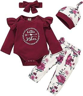 Borlai 4PCS Bebé niñas Little Sister Mono de Manga Larga Romper Pantalones Florales Sombrero Diadema Trajes de impresión d...