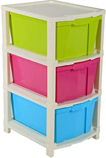 DevDeep 3 Layer Modular Drawer, Virgin Plastic for Home, Office, Parlor, School, Doctor, and Kids (Multicolour, 3 layer)
