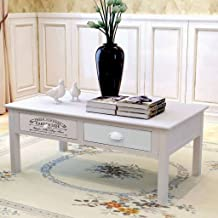 Festnight French Coffee Table Wood Shabby Chic Console Table with 2 Drawers