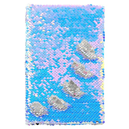 MHJY Sequin Notebook Magic Reversible Sequin Journal for Girls Color Change Diary Flip Sequin Notebook Sparkly Mermaid Gift
