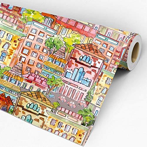 Papel de parede adesivo vinílico City Cidade Casas Coloridas