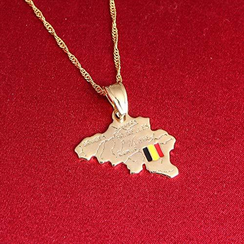 VAWAA Bélgica Mapa Collar Reino De Bélgica Bandera Nacional Colgante Mujeres Hombres Joyería