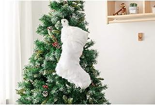 DegGod 20 inch Plush Christmas Stocking, Cozy Snowy White Faux Fur Xmas Stockings Gift Holder for Christmas Mantel Decorat...