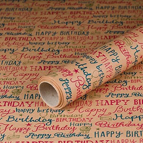 Geschenkpapier Birthday, Kraftpapier, glatt, 60 g/m², Geburtstagspapier, Vintage - 1 Rolle 0,7 x 10 m
