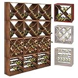 Dimensions : H 50 x L 50 x P 25 cm, pour 24 bouteilles Système modulaire adaptable à souhait Construction en bois de pin teinté en tobacco Montage simple Stabilité optimale pour toutes les bouteilles
