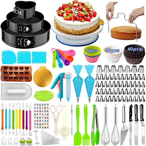 Cake Decorating Supplies,393 PCS Cake Decorating Kit 3 Packs Springform Cake Pans, Cake Rotating Turntable,48 Piping Icing Tips,7 Russian Nozzles, Baking Supplies,Cupcake Decorating Kit