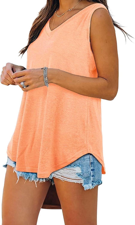 POLLYANNA KEONG Womens T Shirts for Summer,Womens Tank Tops Summer Loose Fit Color Block Casual Sleeveless Tshirts