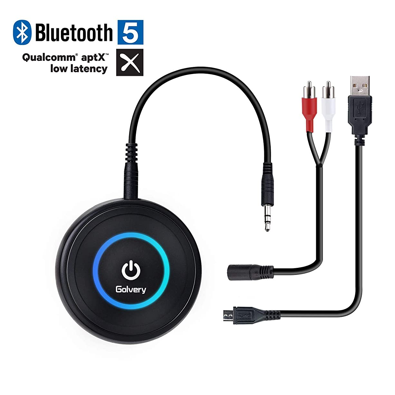 ドライ折敗北Golvery Bluetooth 4.1 Transmitter and Receiver - 2 in 1 Wireless 3.5mm Aux Bluetooth Audio Adapter - aptX Low Latency, Enjoy HiFi Music - for Home TV, PC, Headphones, Speakers & Car Stereo System